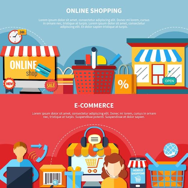 Zestaw ulotki e-commerce Darmowych Wektorów
