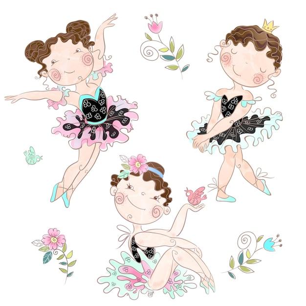 Zestaw uroczych dziewczynek balerin .. Premium Wektorów