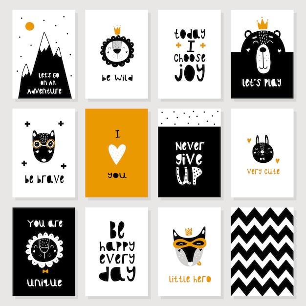Zestaw uroczych skandynawskich pocztówek dla zwierząt Premium Wektorów