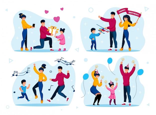 Zestaw Uroczystości Rodzinne Wakacje Rodzinne Premium Wektorów