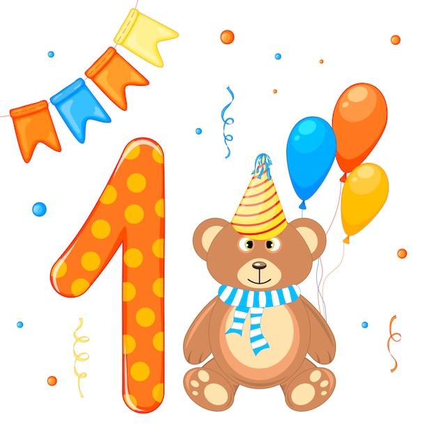 Zestaw urodzinowy z misiem i numerem jeden Premium Wektorów