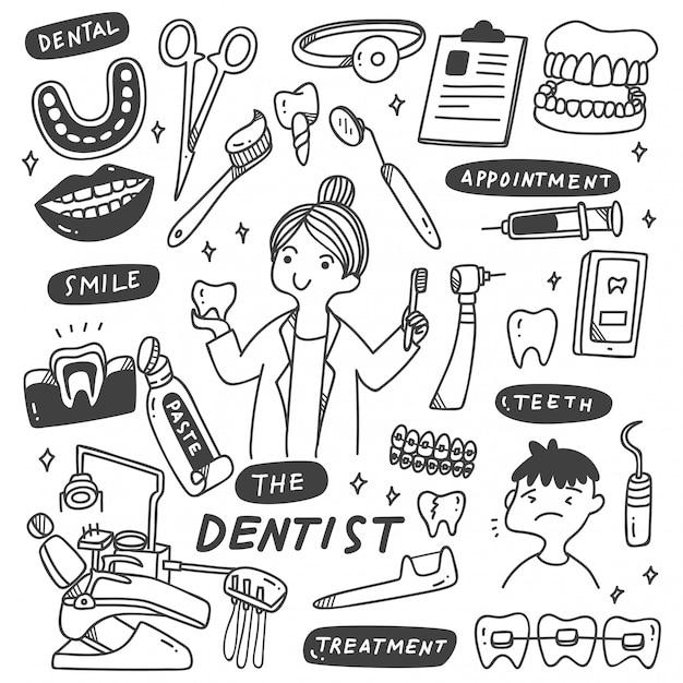 Zestaw Urządzeń Dentystycznych Doodle Premium Wektorów