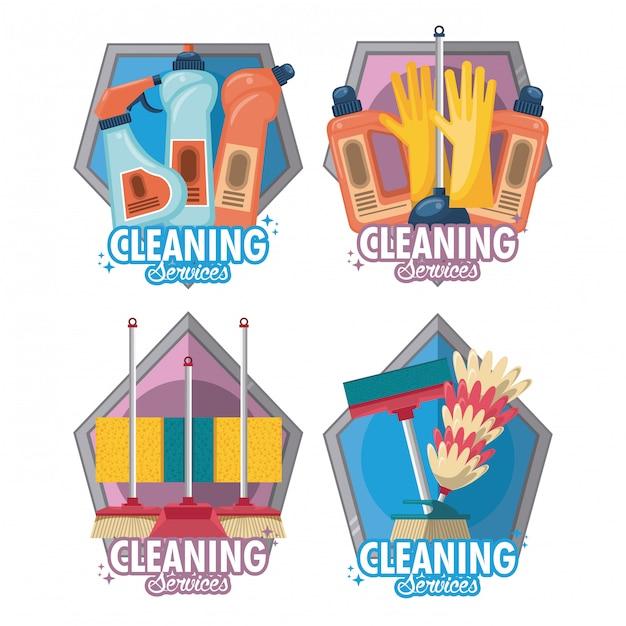 Zestaw usług sprzątania i sprzątania Darmowych Wektorów