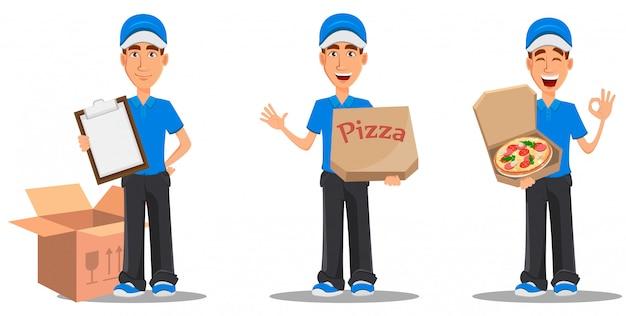 Zestaw uśmiechnięty człowiek dostawy w niebieskim mundurze Premium Wektorów