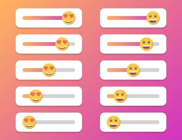Zestaw Uśmiechu Suwak Dla Mediów Społecznościowych. Ilustracja Premium Wektorów