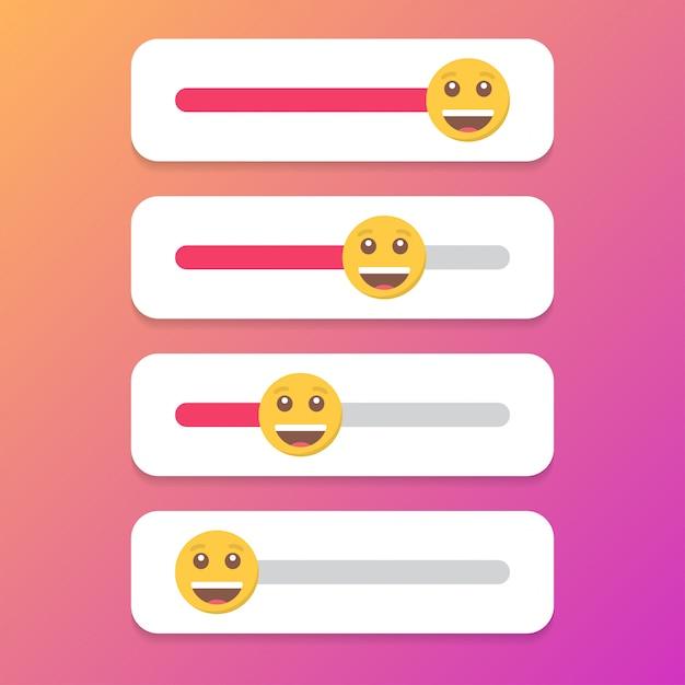 Zestaw uśmiechu suwaka dla mediów społecznościowych. Premium Wektorów
