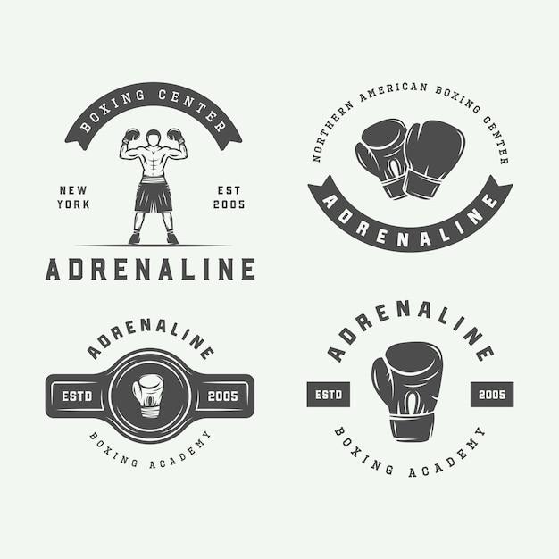 Zestaw Vintage Boks Odznaki Premium Wektorów