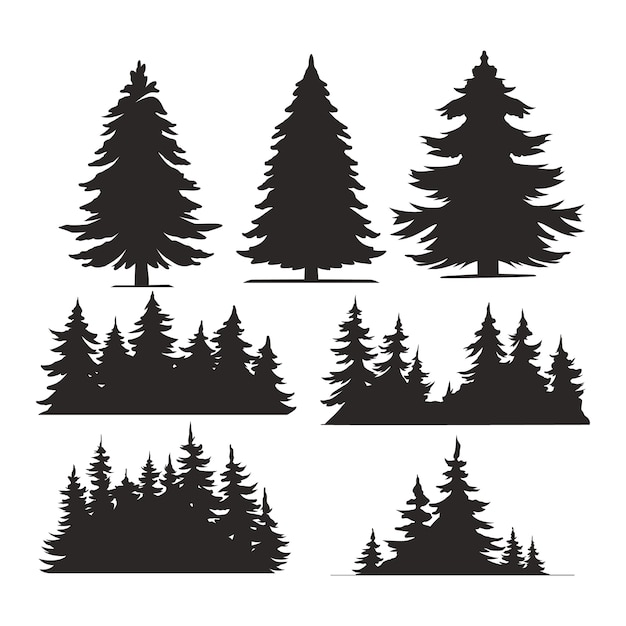 Zestaw Vintage Drzew I Lasów Sylwetki Darmowych Wektorów