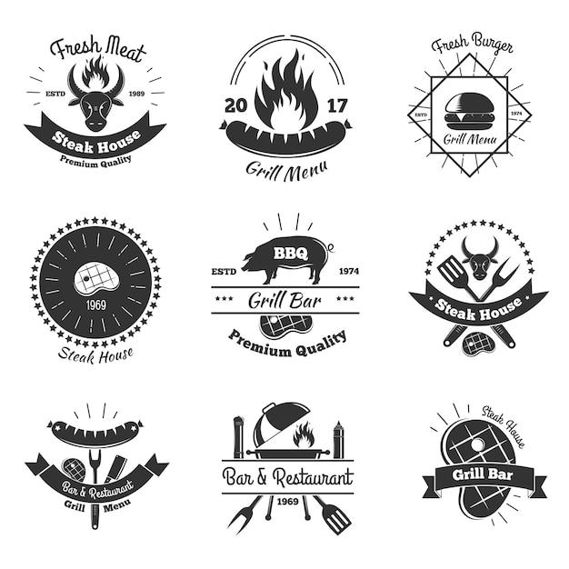 Zestaw vintage emblematy steakhouse Darmowych Wektorów
