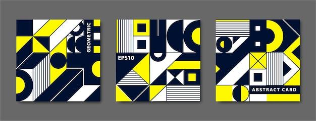 Zestaw Vintage Geometryczne Kształty Bauhaus, Karty. Premium Wektorów