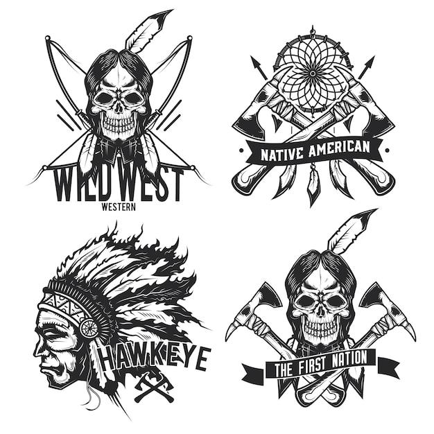 Zestaw Vintage Indiańskich Herby, Etykiety, Odznaki, Logo. Na Białym Tle Darmowych Wektorów