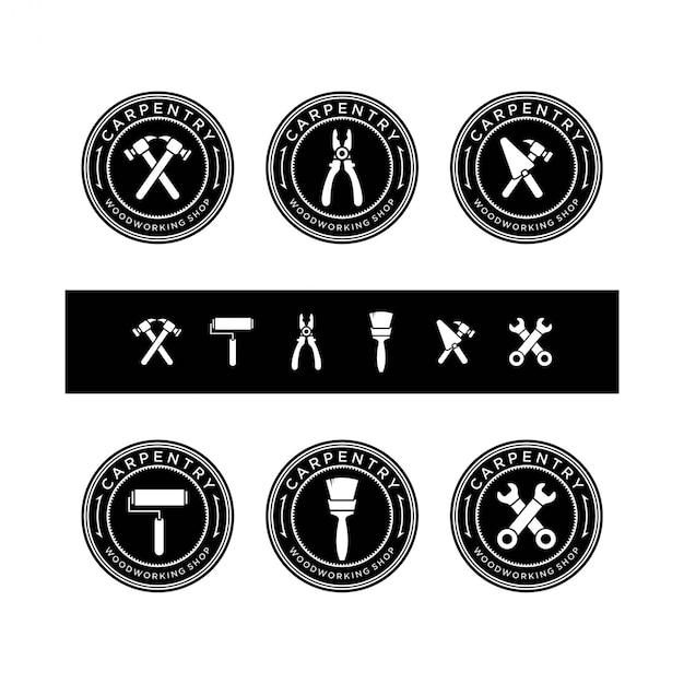 Zestaw Vintage Logo Narzędzia Stolarskie Premium Wektorów