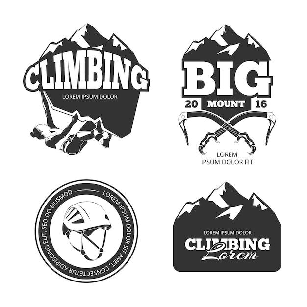 Zestaw Vintage Logo Wektor Wspinaczki Górskiej I Etykiety Premium Wektorów