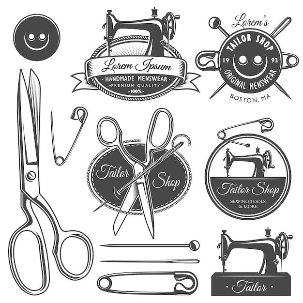 Zestaw Vintage Monochromatyczne Narzędzia Krawieckie I Herby. Premium Wektorów