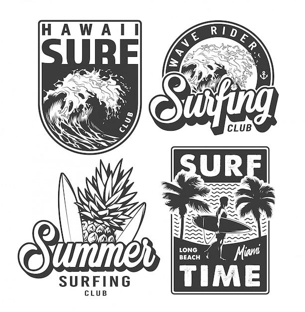 Zestaw Vintage Monochromatyczne Odbitki Surfingowe Darmowych Wektorów