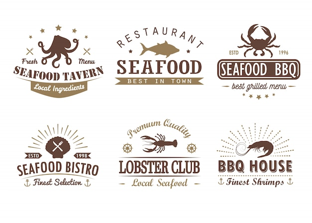Zestaw Vintage Owoce Morza, Grill, Szablony Logo Grill, Odznaki I Elementy Projektu Premium Wektorów