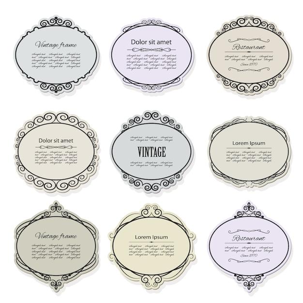 Zestaw Vintage Ramki I Etykiety. Kaligraficzne Elementy Projektu. Premium Wektorów