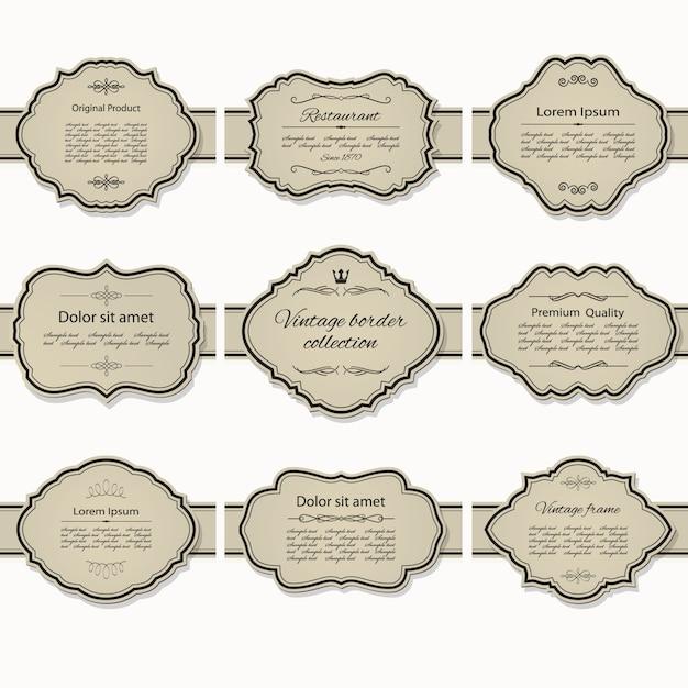 Zestaw vintage ramki Premium Wektorów