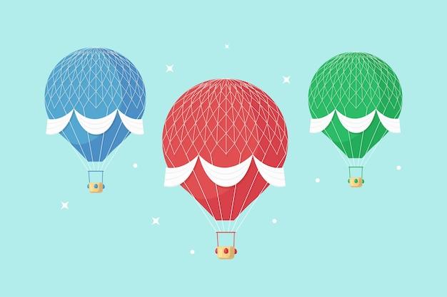 Zestaw Vintage Retro Balonem Z Koszem W Niebo Na Białym Tle Na Tle. Premium Wektorów