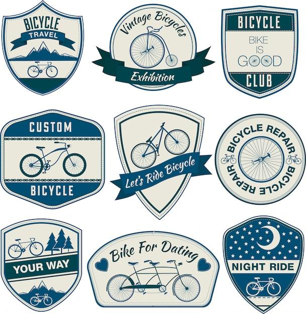 Zestaw Vintage Rowerów Odznaki Premium Wektorów