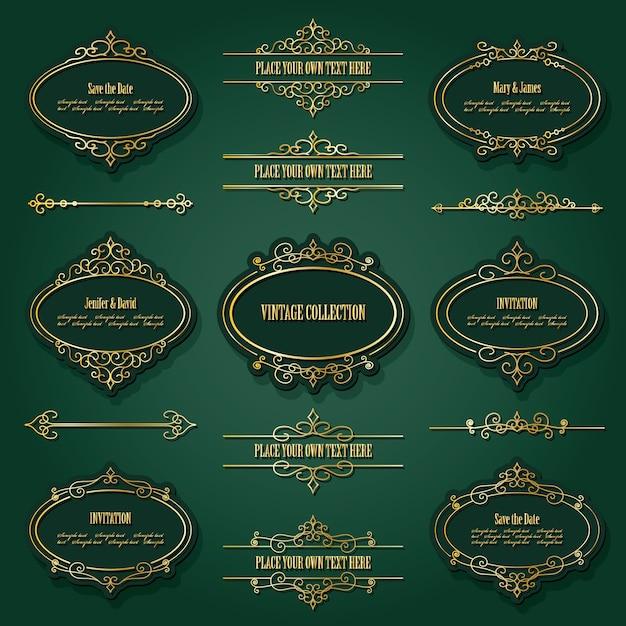 Zestaw vintage złote ramki Premium Wektorów