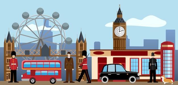 Zestaw w londynie i wielkiej brytanii. Premium Wektorów