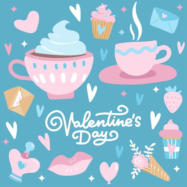 Zestaw Walentynek Z Elementami Miłości, Sercem, Nakładkami, Kaligrafią Linii, Filiżankami Kawy Itp. Premium Wektorów