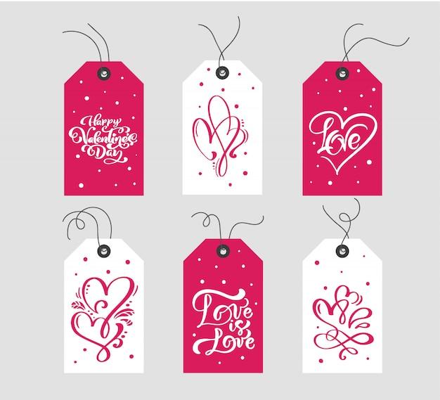 Zestaw Walentynki Prezent Oznacza Typograficzny Wektor. Kartka świąteczna Walentynki Premium Wektorów