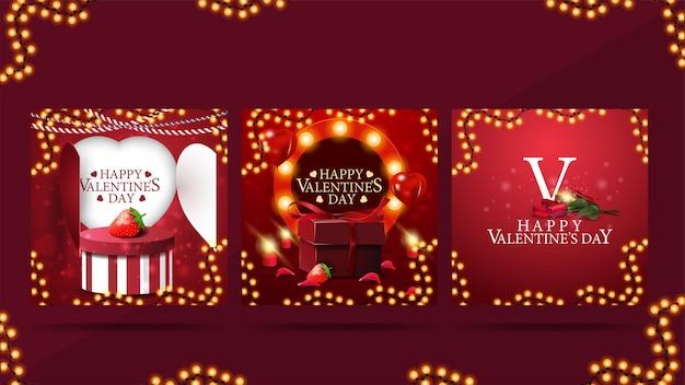 Zestaw Walentynkowych Kart Okolicznościowych Z Elementami Walentynkowymi, Jasne Ciepłe Ramki Szablonu I Prezenty Premium Wektorów