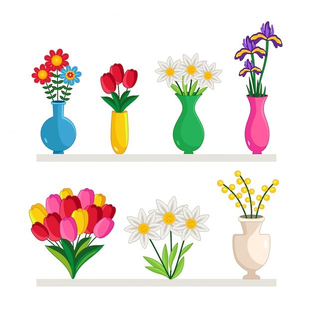 Zestaw Wazonów Z Kwiatami Premium Wektorów