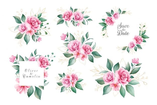 Zestaw Wektor Akwarela Dekoracje Kwiatowe Różowe I Fioletowe Kwiaty Róży I Złote Liście. Premium Wektorów