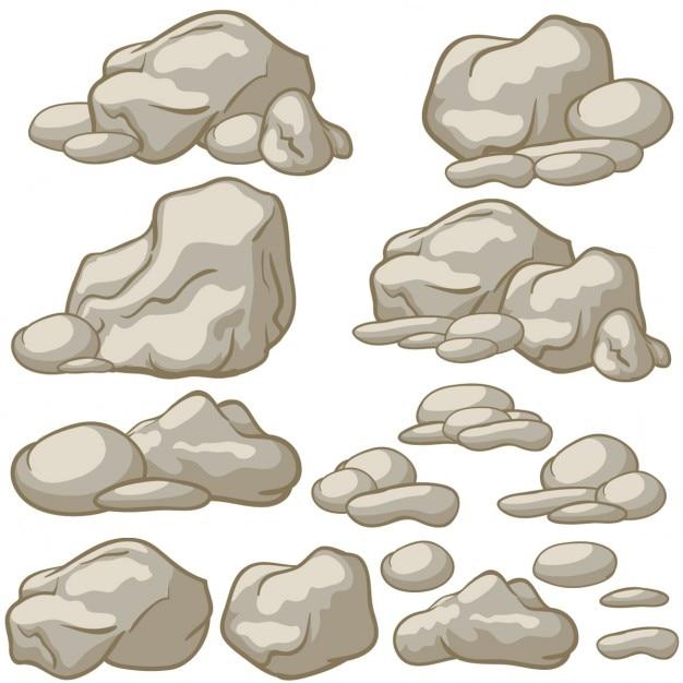 Zestaw Wektor Cartoon Kamienie Darmowych Wektorów
