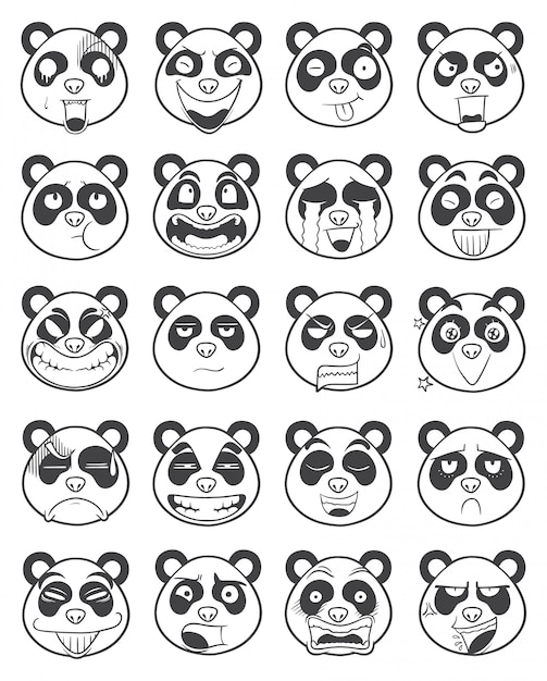 Zestaw wektor ilustracja kontur twarzy emotikon panda Premium Wektorów