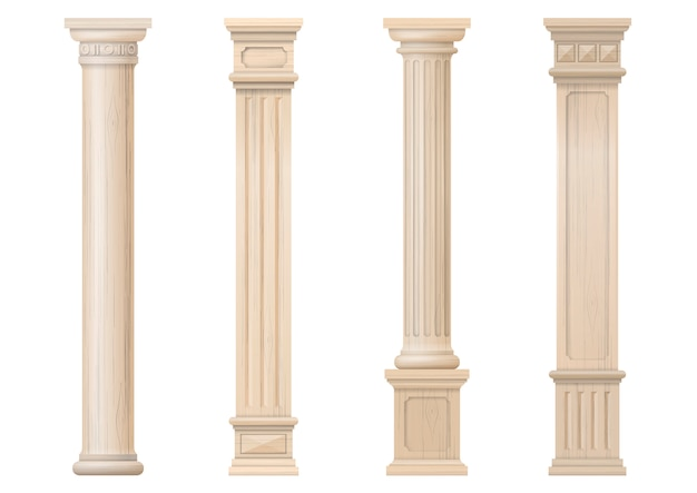 Zestaw Wektor Klasyczne Drewniane Kolumny Premium Wektorów