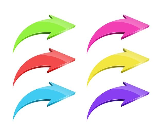 Zestaw Wektor Kolorowe Strzałki Na Białym Tle Darmowych Wektorów