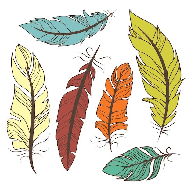 Zestaw Wektor Kolorowych Piór W Stylu Retro Darmowych Wektorów