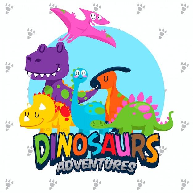 Zestaw Wektor ładny Dinozaurów Premium Wektorów