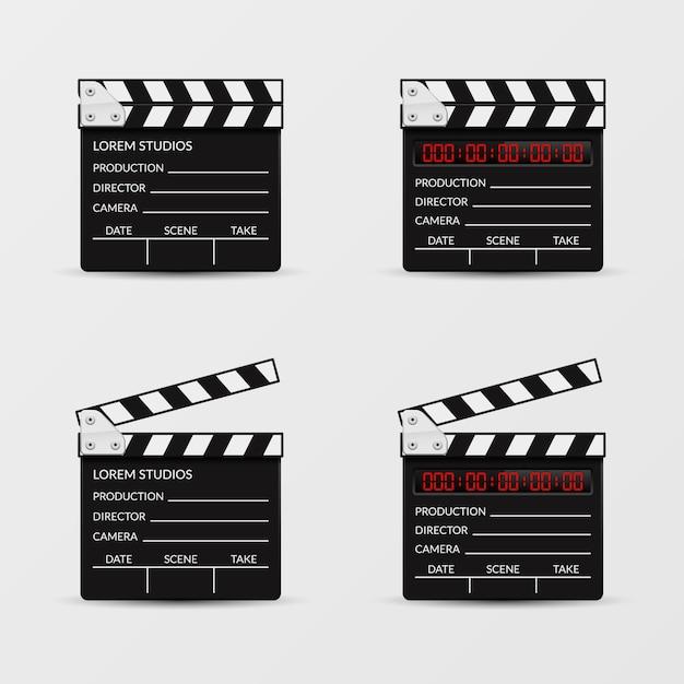 Zestaw Wektora Clapperboard Filmu. Clapperboard Film, Video Clapboard, Clapper Board, Movie Cinematography Illustration Darmowych Wektorów