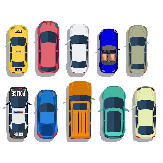 Zestaw Widok Z Góry Samochodów Premium Wektorów