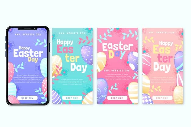 Zestaw Wielkanocnych Historii Na Instagramie Darmowych Wektorów