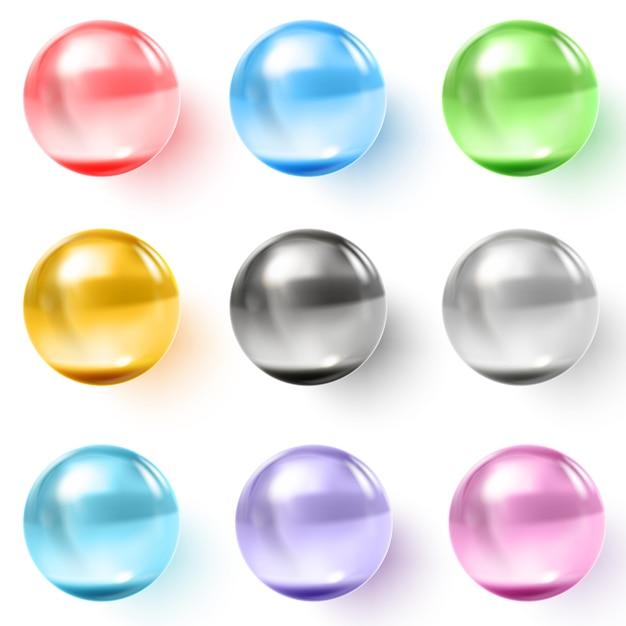 Zestaw wielokolorowych przezroczystych szklanych kulek z cieniami Premium Wektorów