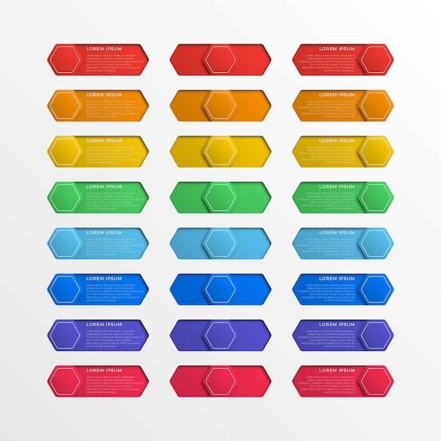 Zestaw wielokolorowych sześciokątnych przycisków interfejsu z polami tekstowymi Premium Wektorów