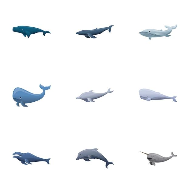 Zestaw wielorybów, stylu cartoon Premium Wektorów