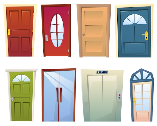 Zestaw Wielu Kreskówek Różnych Drzwi Premium Wektorów