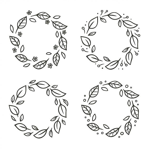 Zestaw Wieńców Z Okrągłych Liści Z Kwiatami Premium Wektorów