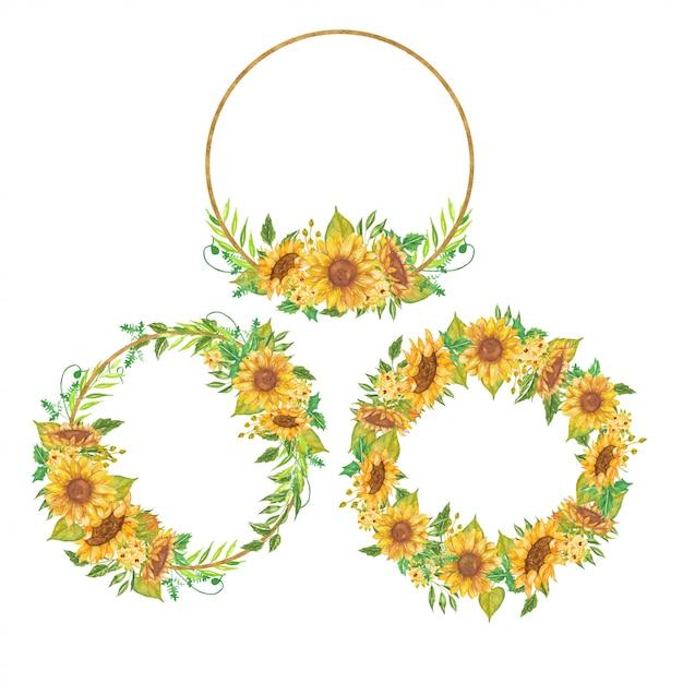 Zestaw Wieniec Kwiatowy Akwarela żółty Słonecznikowy Premium Wektorów
