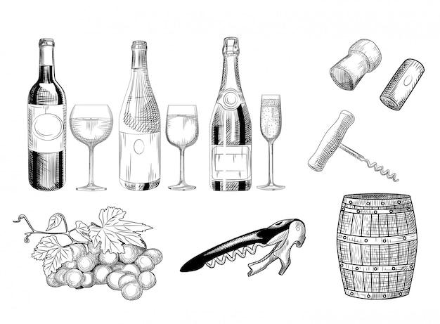 Zestaw Wina. Ręcznie Rysowane Kieliszek Do Wina, Butelki, Beczki, Korek Do Wina, Korkociąg I Winogron. Premium Wektorów
