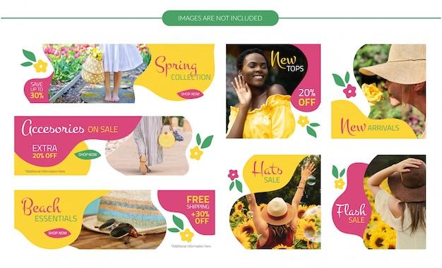Zestaw wiosennych kwiatów banery Premium Wektorów