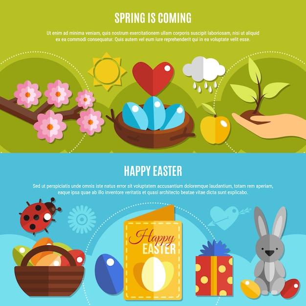 Zestaw wiosna banery wielkanocne Darmowych Wektorów