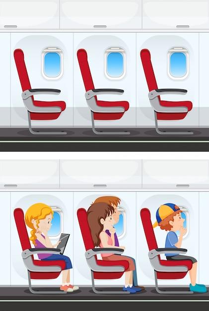 Zestaw wnętrza samolotu Premium Wektorów